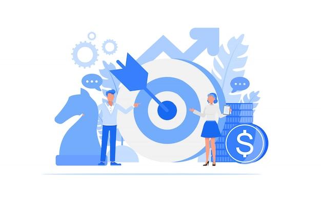ビジネス人々の文字セット。ビジネス戦略コンセプト。