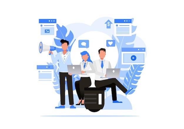 ビジネス人々の文字セット。デジタル代理店のコンセプト。