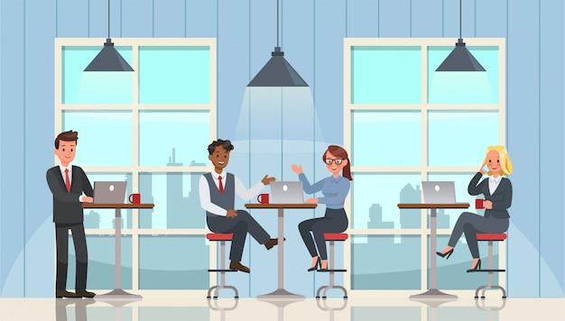 働くビジネスマンとオフィスの文字セットでの会議