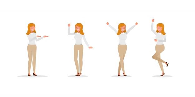 さまざまなジェスチャーの文字セットを示すビジネス女性
