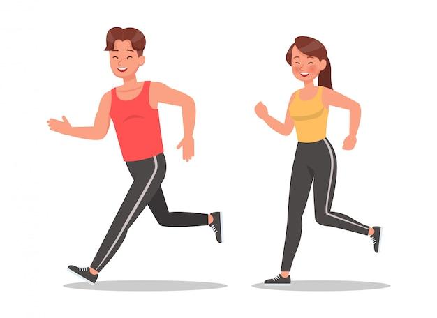 フィットネスの男性と女性の運動文字セットを行う