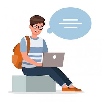 幸せな少年思考と作業文字セット