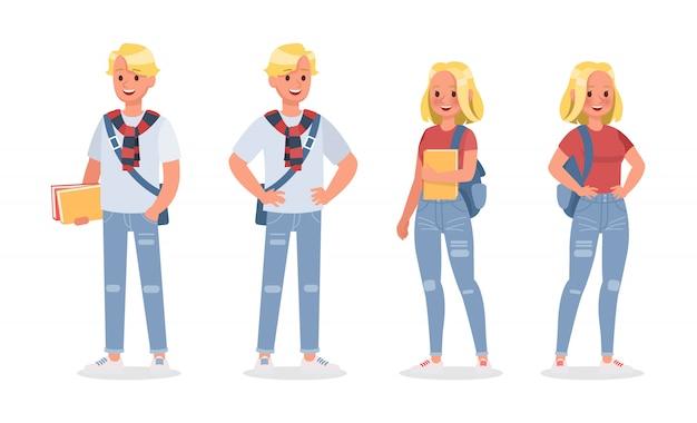 学生の若い男と若い女性のキャラクターのセットを設定します