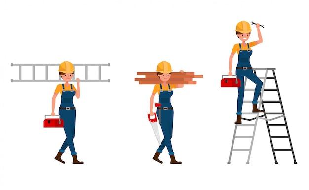 Молодой строитель женщина в синей форме набора символов