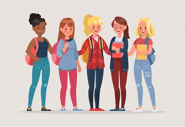若い女性学生キャラクターセット