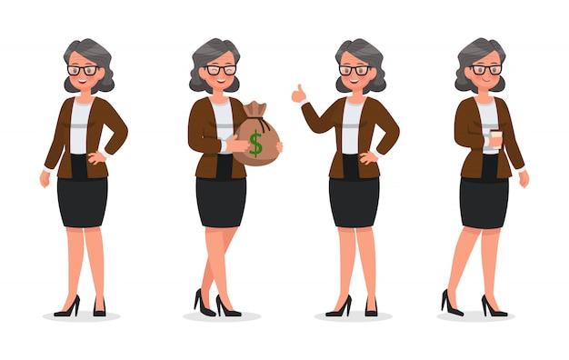 オフィスキャラクターで働くビジネスウーマンのセット