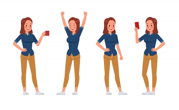Женщины носят синие джинсы рубашка персонажа