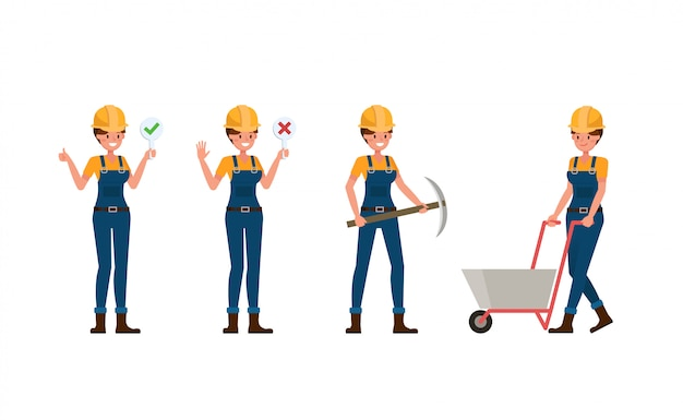 Молодая женщина-строитель в синей форме