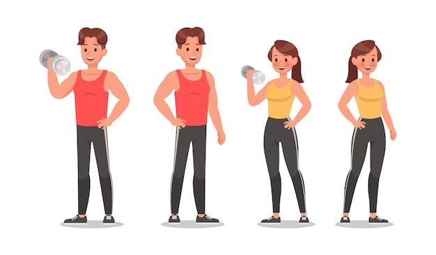Фитнес мужчина и женщина, делая упражнения