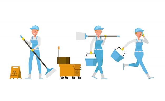 Профессиональный уборщик женщина дизайн персонажей. презентация в различных акциях.