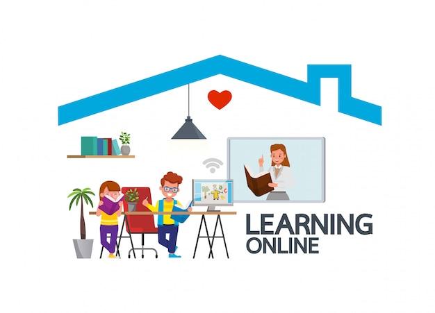 コロナウイルス中の子供のための遠隔教育オンライン教育クラス。社会的距離、自己分離、在宅滞在のコンセプト。子供の文字のベクトルのデザイン。