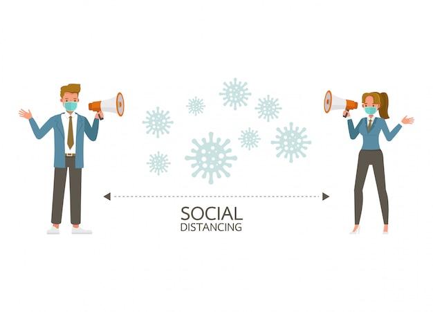 Социальное дистанцирование, концепция самоизоляции. бизнесмен и женщина, стоящая, чтобы предотвратить коронавирус.