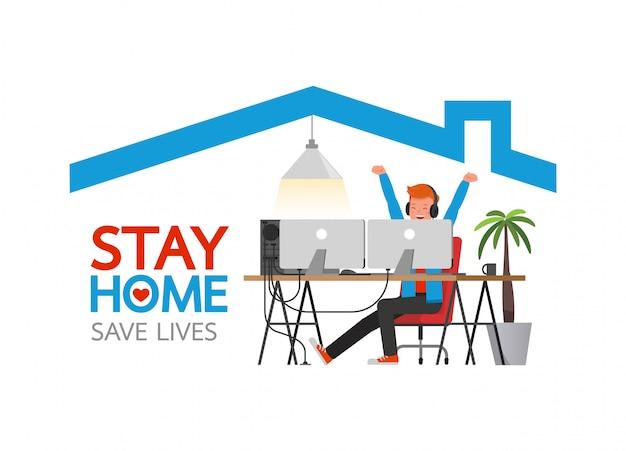 コロナウイルスが流行している間は家にいてください。社会的距離、自己分離の概念。在宅勤務の男性。