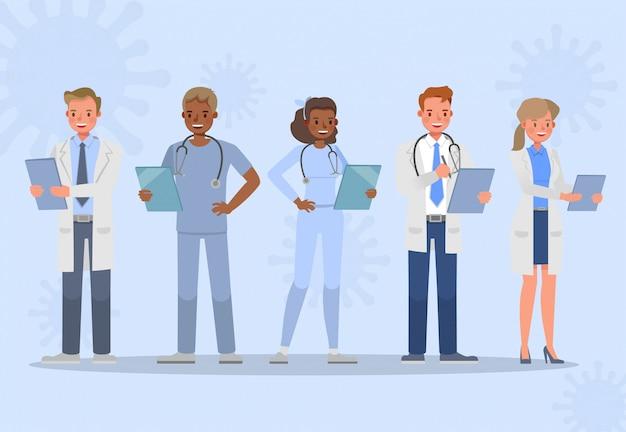 Набор доктора. коронавирусный карантин концепция дизайна персонажей