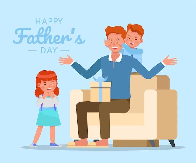 幸せな父、息子と娘の文字ベクトルデザインの父の日のコンセプト。
