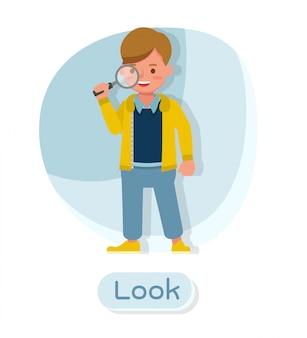 Детский векторный дизайн персонажей. презентация в различных действиях с эмоциями и взглядом.