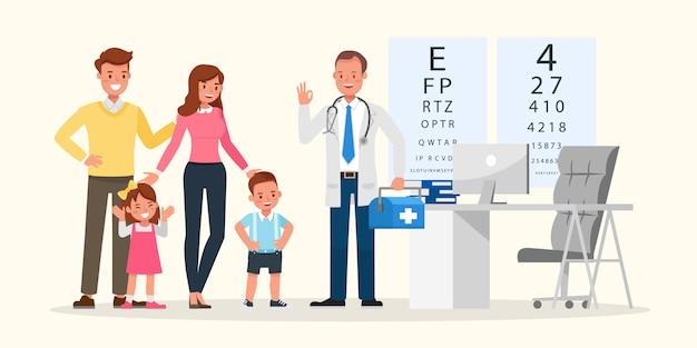Семья, чтобы увидеть доктора в больнице характер. презентация в различных действиях с эмоциями, улыбкой и счастьем.