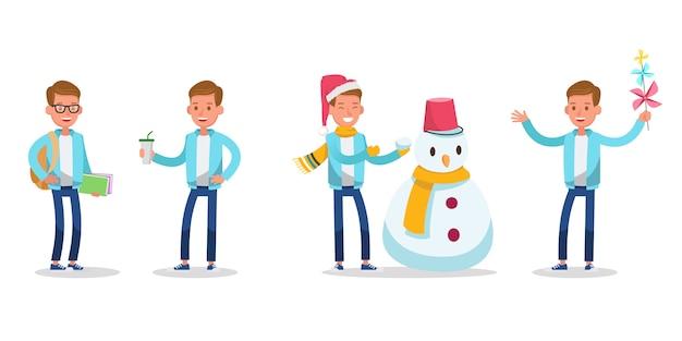 幸せな十代の少年キャラクター。クリスマスの時期。