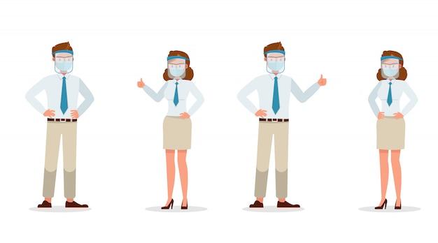 Бизнесмен люди носить медицинскую маску и лицо щит характер. презентация в различных акциях. новая нормальная жизнь.