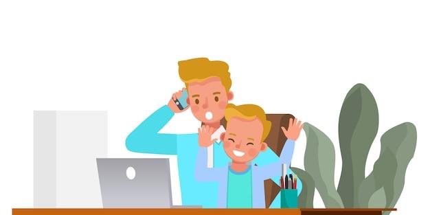 Отец работает из дома с характером детей. концепция социального дистанцирования и самоизоляции.