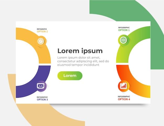 インフォグラフィックウェブサイトのテンプレートデザインの概念、ベクトル図