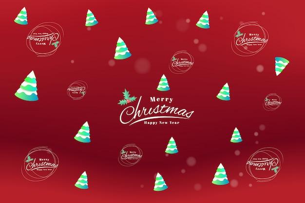 メリークリスマスと新年あけましておめでとうございますカードタイポグラフィーとチラシテンプレート