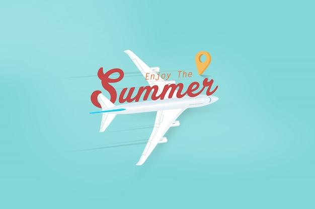 飛行機で夏の季節旅行をお楽しみください。ベクトルイラスト