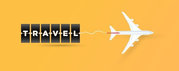 タイムテーブルボードスタイルの飛行機の「旅行」テキスト。ベクター