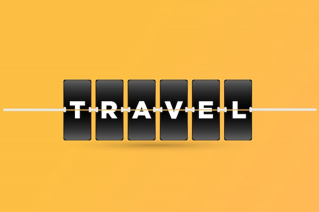 タイムテーブルボードスタイルの旅行者テキスト。ベクター