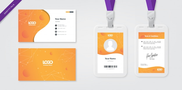 Шаблон удостоверения личности и визитка оранжевый
