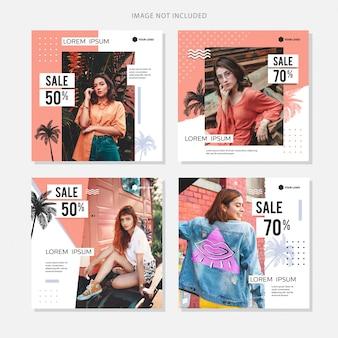 Социальные медиа баннер мода летняя распродажа