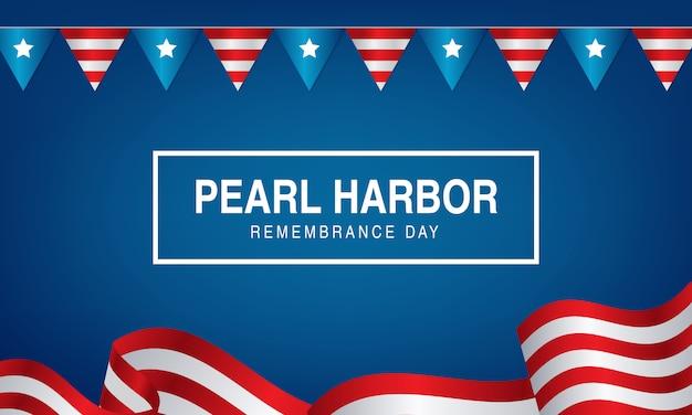 パールハーバーの思い出の日の背景ネクタイとアメリカの旗狩り