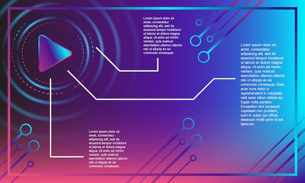 背景カラフルな再生ボタン。カラフルなバナー。紫、青、ピンクのグラデーションがあります。