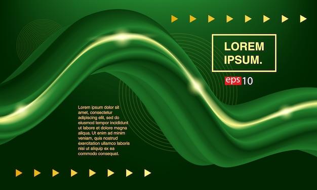 抽象的な流体。緑色の液体をバナーで送る。カラーカバーセット
