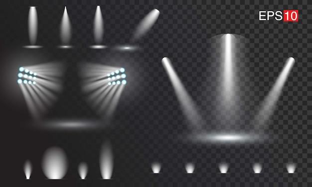 透明なスポットライトのセット。使いやすい