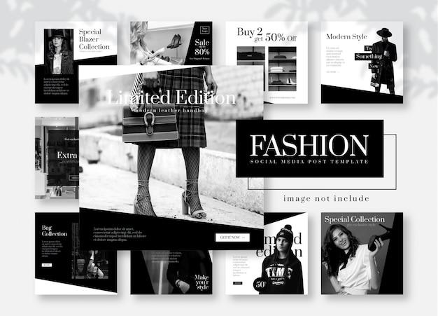 グレースケールファッションソーシャルメディア投稿テンプレート