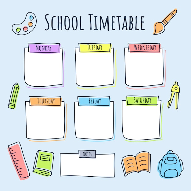 色付きの線のアイコンと学校の時間割