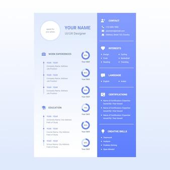 Резюме дизайн шаблона с иконкой в комплекте