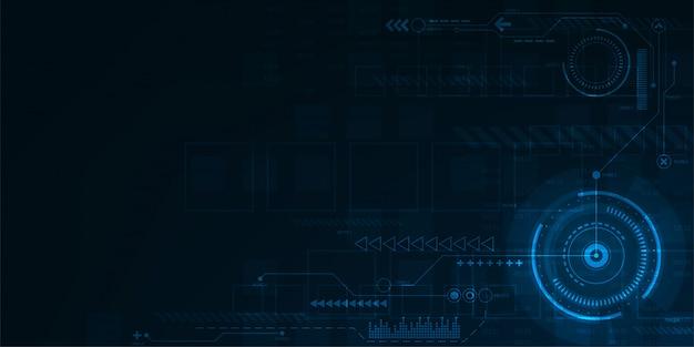 暗い青色の背景のデジタル操作インターフェイス。