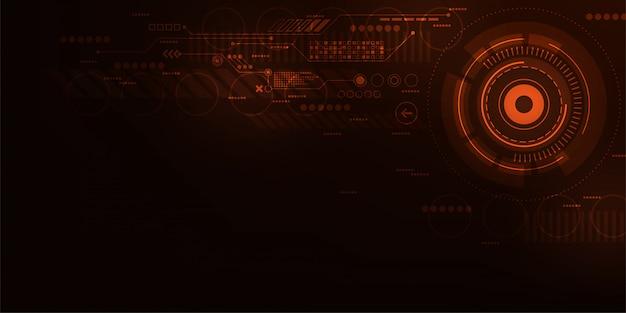 濃いオレンジ色の背景のデジタル操作インターフェイス。