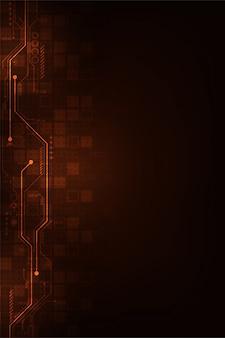濃いオレンジ色の背景のデジタル回路設計。