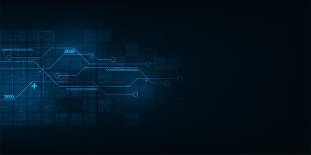 暗い青色の背景にデジタル回路設計。