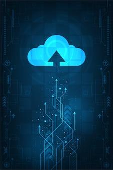 Облачный интерфейс, который показывает загрузку данных в интернет.