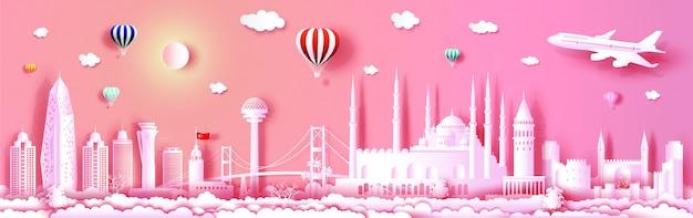 パノラマビューでヨーロッパのトルコのランドマークを旅行します。
