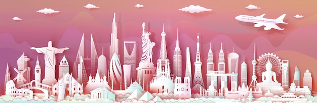 世界の現代の重要な建築記念碑とランドマークの世界を旅行します。
