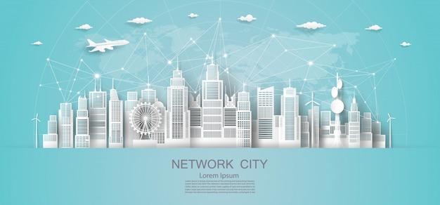 Современная экономическая технология городской сети в городском небоскребе.