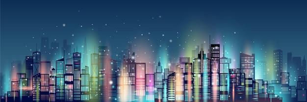 Абстрактная технология неоновая в предпосылке небоскреба современной архитектуры городской.