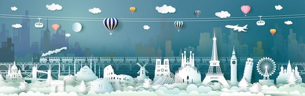 ケーブルの列車の列車で世界のヨーロッパのランドマークを旅行します。