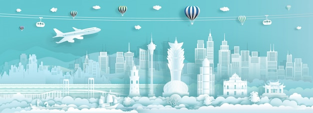 マカオの有名なアジア都市で中国のランドマークを旅します。