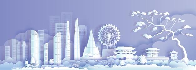 紫色の背景に韓国のアジアのランドマーク建築を旅行します。
